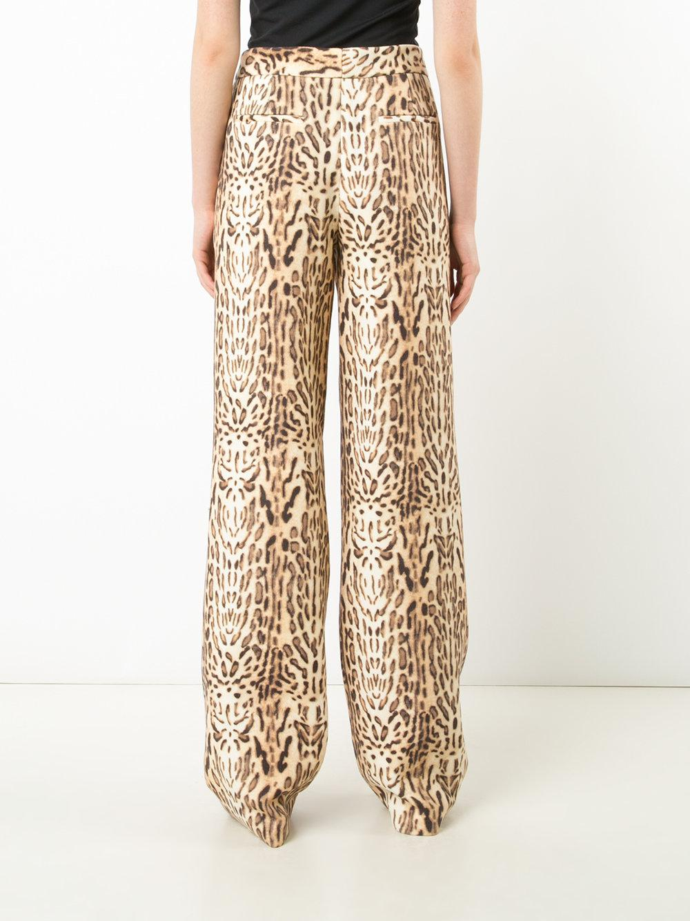 Ocelot-Print Wool Wide-Leg Trousers Adam Lippes