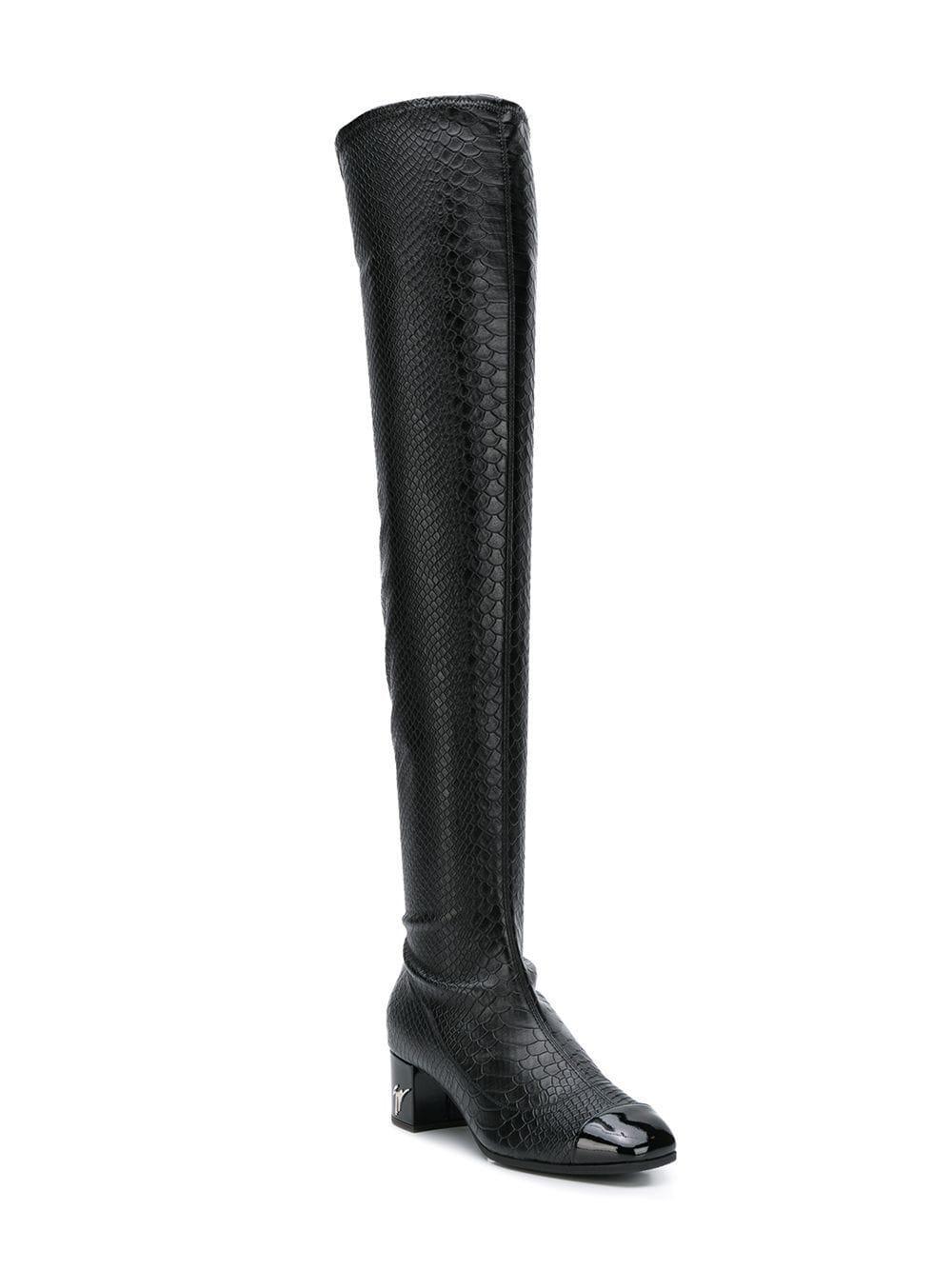 1eaeb0049aaab Giuseppe Zanotti Snakeskin Effect Over The Knee Boots in Black - Lyst