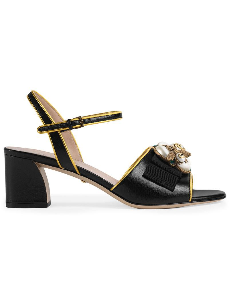 5de56e835bd9 Lyst - Gucci Leather Mid-heel Sandal With Bee in Black