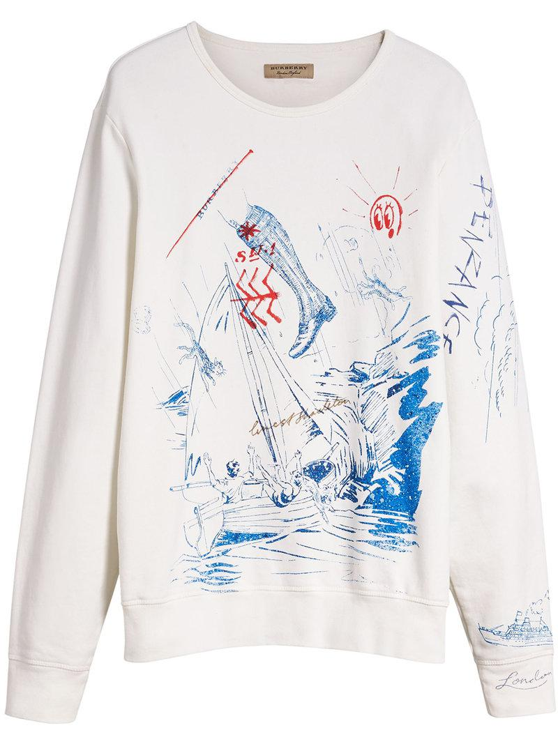 Clearance Free Shipping Adventure Print Cotton Sweatshirt - White Burberry Outlet Pick A Best Cheap Sale With Credit Card Cheap Sale Authentic Discount With Mastercard m7HMaTX