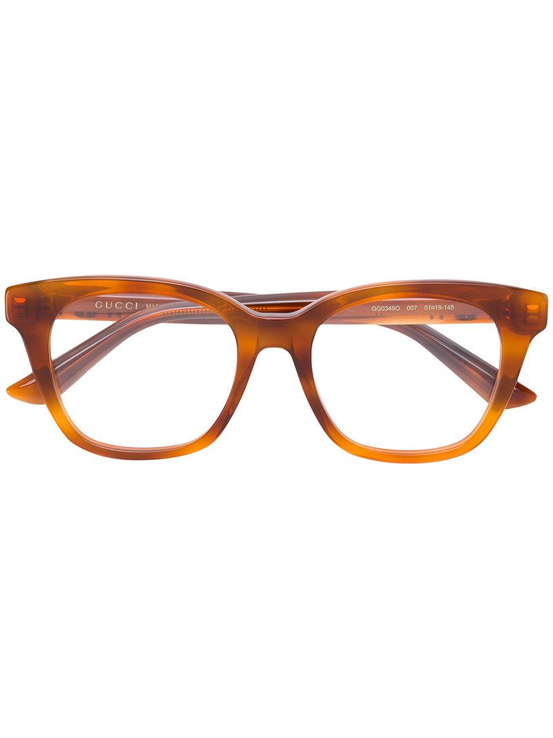 1b00ca8bfb Gucci Square Frame Glasses in Brown - Lyst