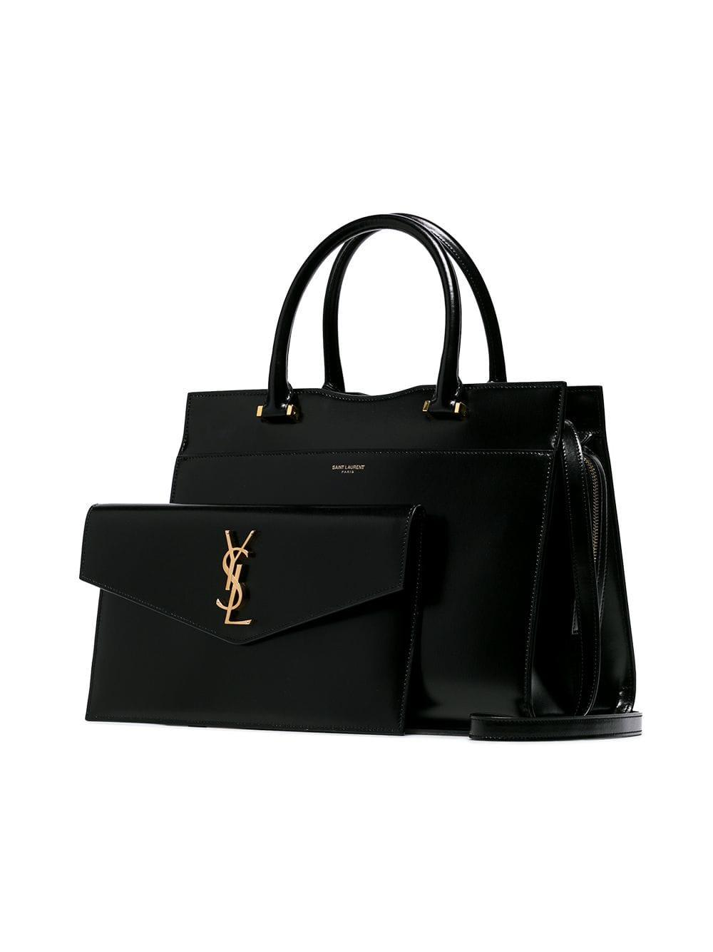 Saint Laurent - Black Medium Uptown Tote Bag - Lyst. View fullscreen 0a0218f01e2ae