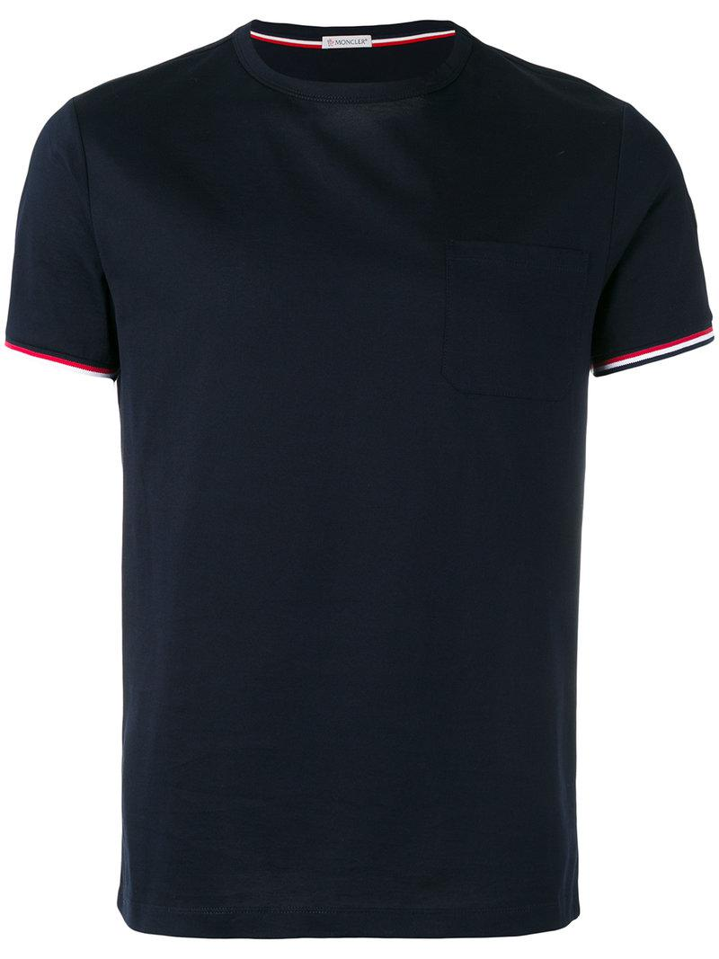 52f3a8d0424d Lyst - Moncler Tri-colour Striped Trim T-shirt in Blue for Men