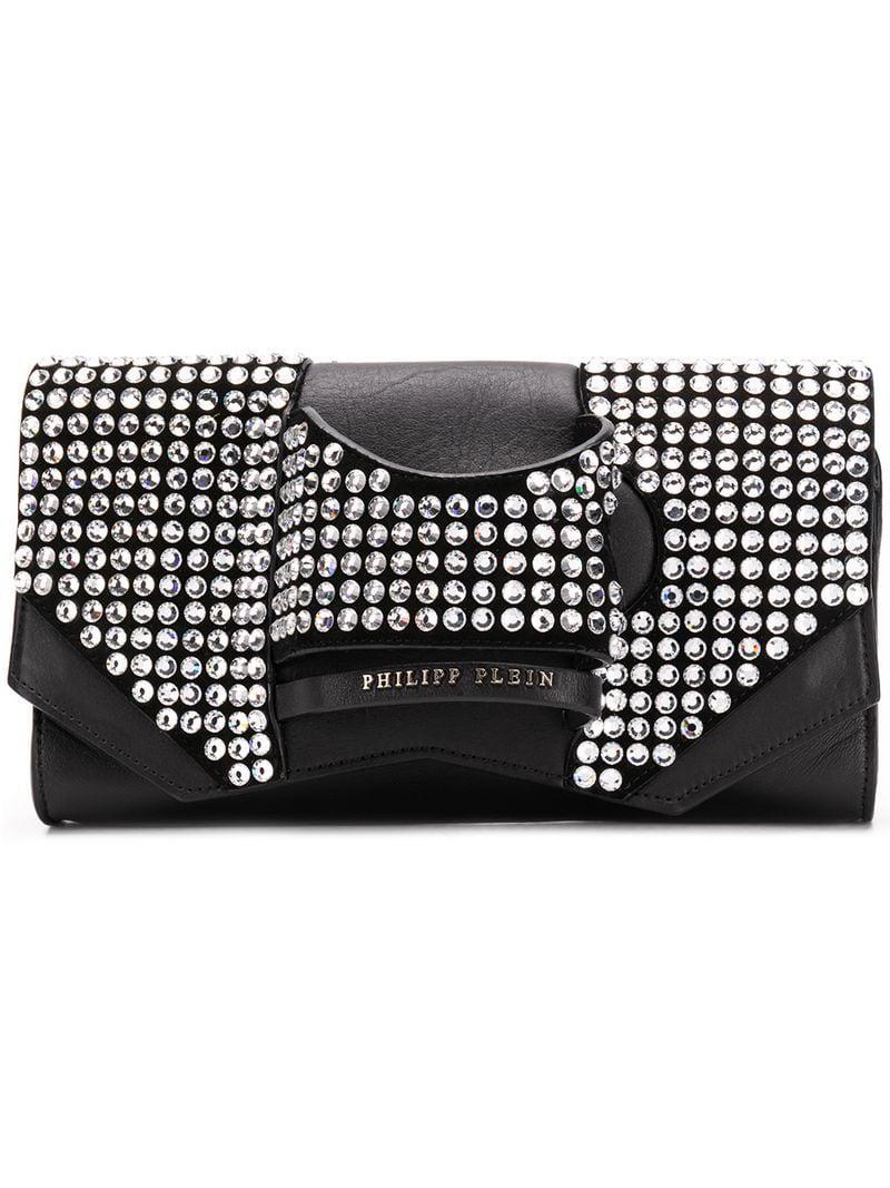 8b8d0a4595 Philipp Plein Stud Detail Clutch Bag in Black - Lyst
