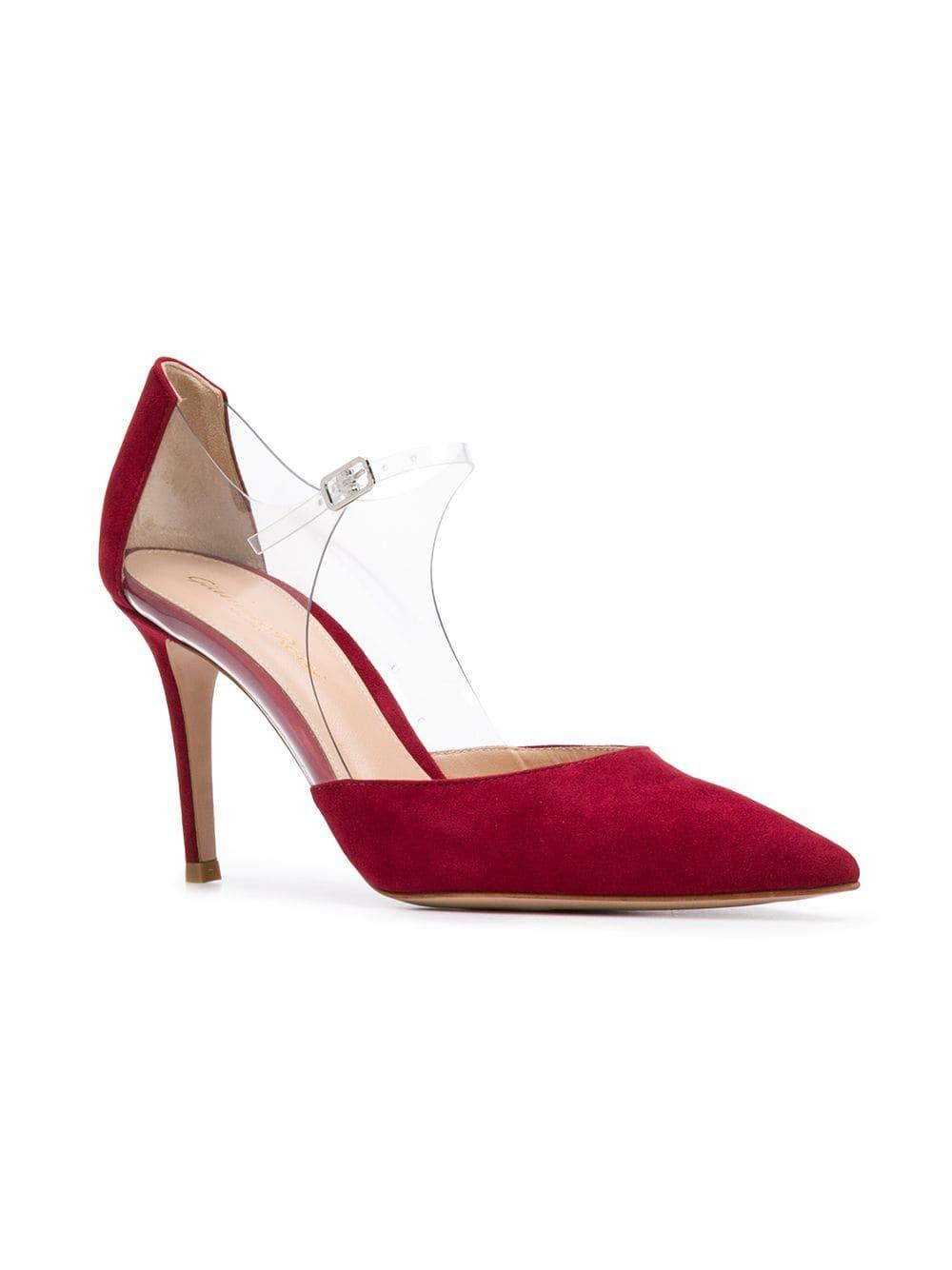 d75cf4c6752d Lyst - Gianvito Rossi Plexi 85 Pumps in Red