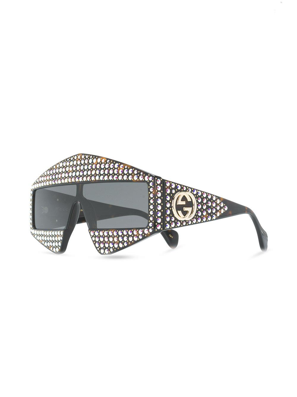 c9a3c6c4444 Gucci Crystal Visor Sunglasses in Brown - Lyst