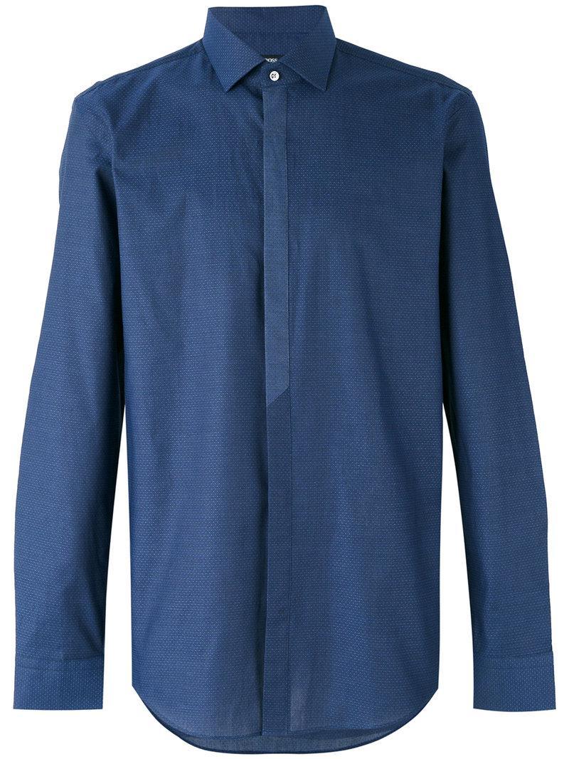 lyst boss longsleeve button up shirt in blue for men. Black Bedroom Furniture Sets. Home Design Ideas