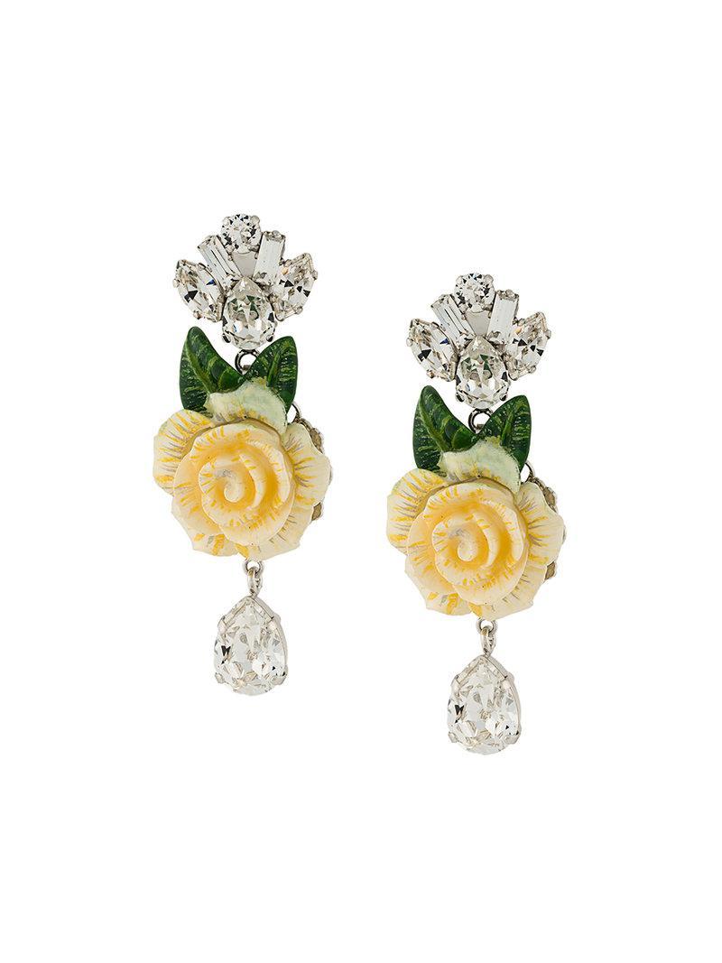 6758c0e6aeba Lyst - Pendientes con rosa y cristales colgantes Dolce   Gabbana de ...