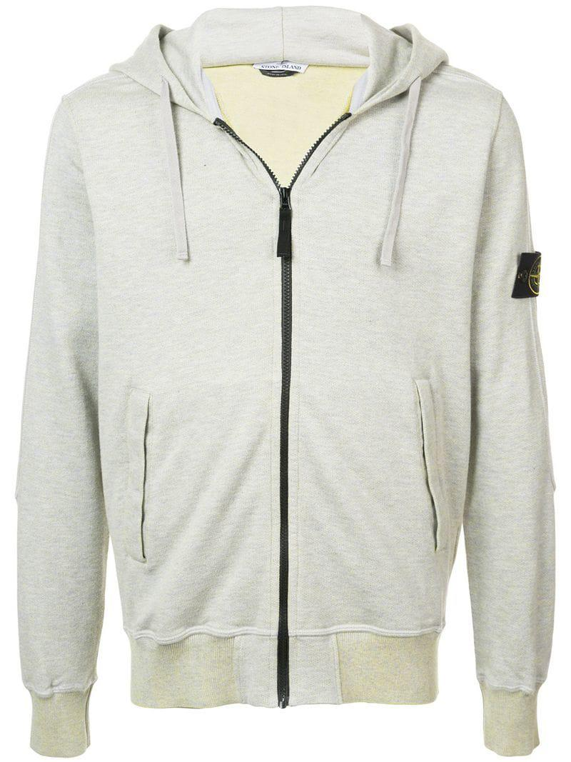 b4f1700a098 Stone Island Logo Zipped Hoodie in Yellow for Men - Lyst