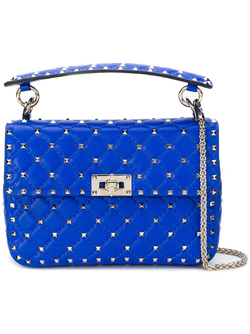 386240ba092c Valentino Garavani Rockstud Spike Crossbody Bag in Blue - Lyst