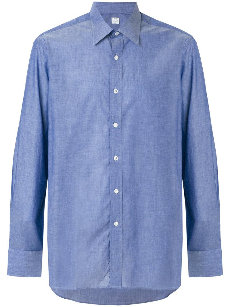 Lyst e tautz classic button down shirt in blue for men for Preppy button down shirts
