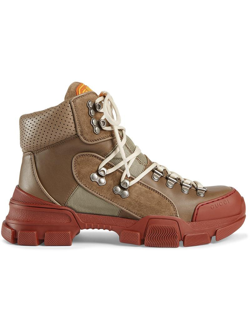 8ad0bff70fc2 Gucci Leather And Canvas Trekking Boots in Brown - Save 11% - Lyst