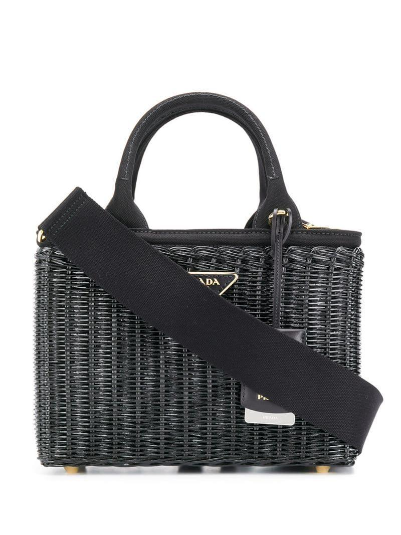 5360ac7f7d44 Lyst - Prada Straw Tote Bag in Black