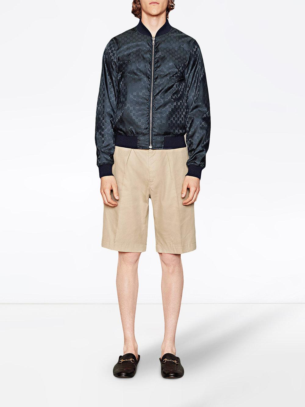 f9331119fffd Lyst - Gucci Reversible GG Jacquard Nylon Bomber Jacket in Blue for Men