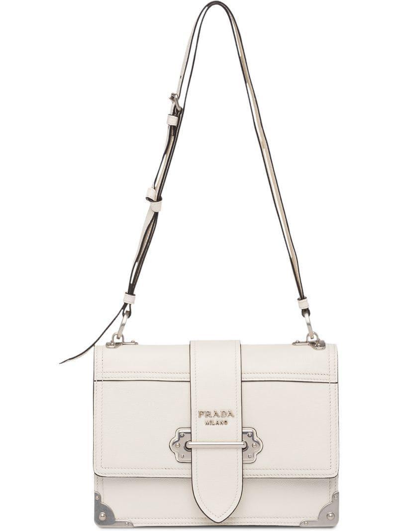 1d888aedefdb Prada - White Cahier Leather Shoulder Bag - Lyst. View fullscreen