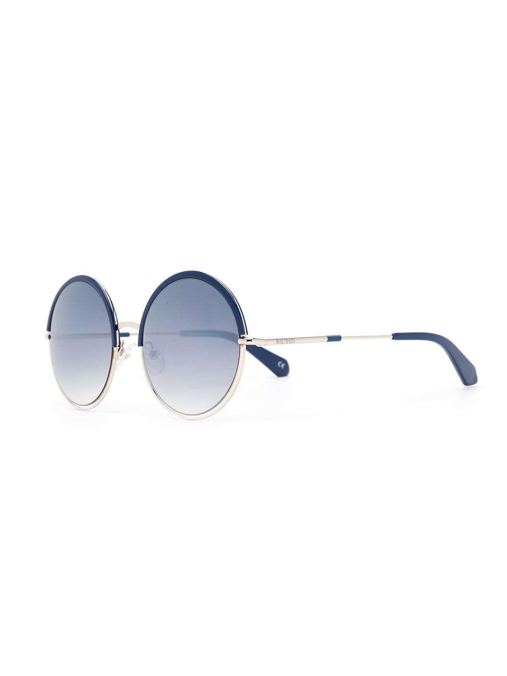3a22c56ce3 Balmain - Blue Round Frame Sunglasses - Lyst. View fullscreen