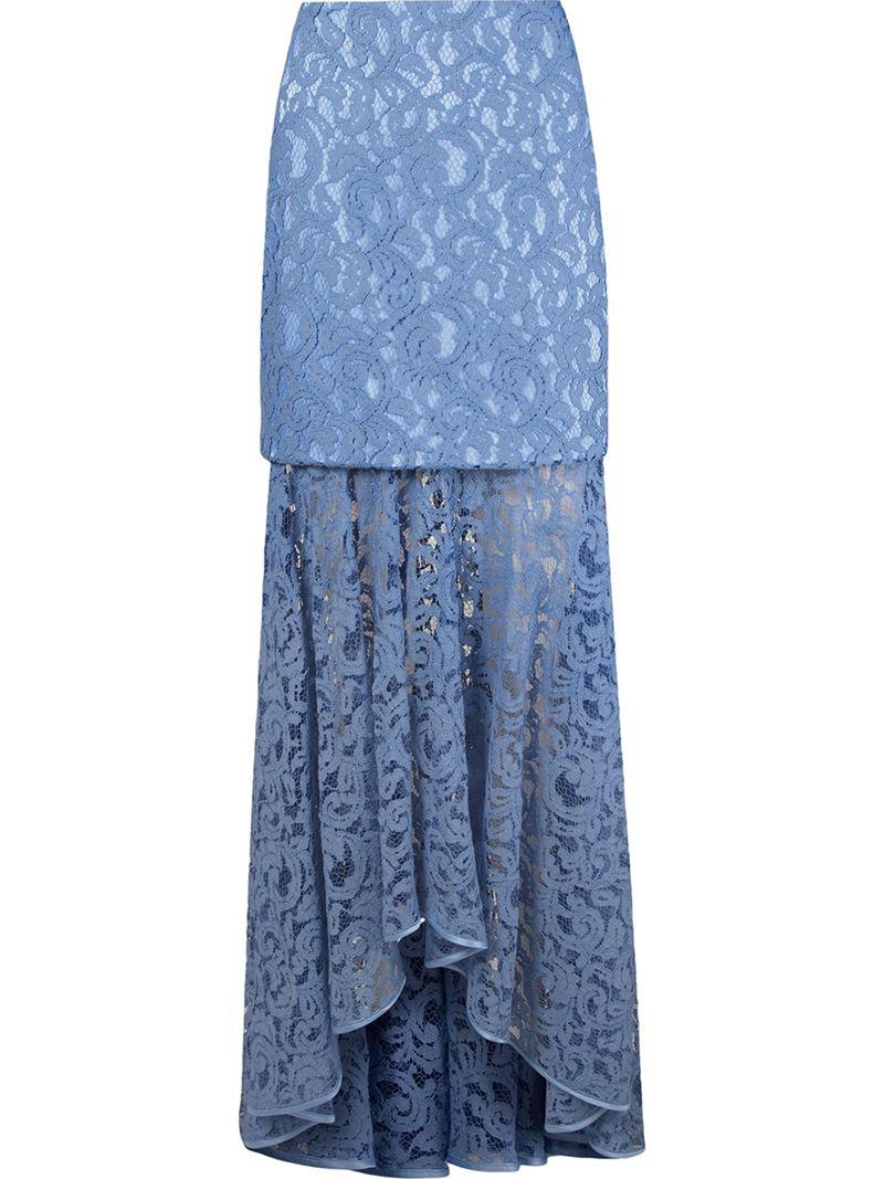 a0545a25de Martha Medeiros 'marescot' Lace Maxi Skirt in Blue - Lyst