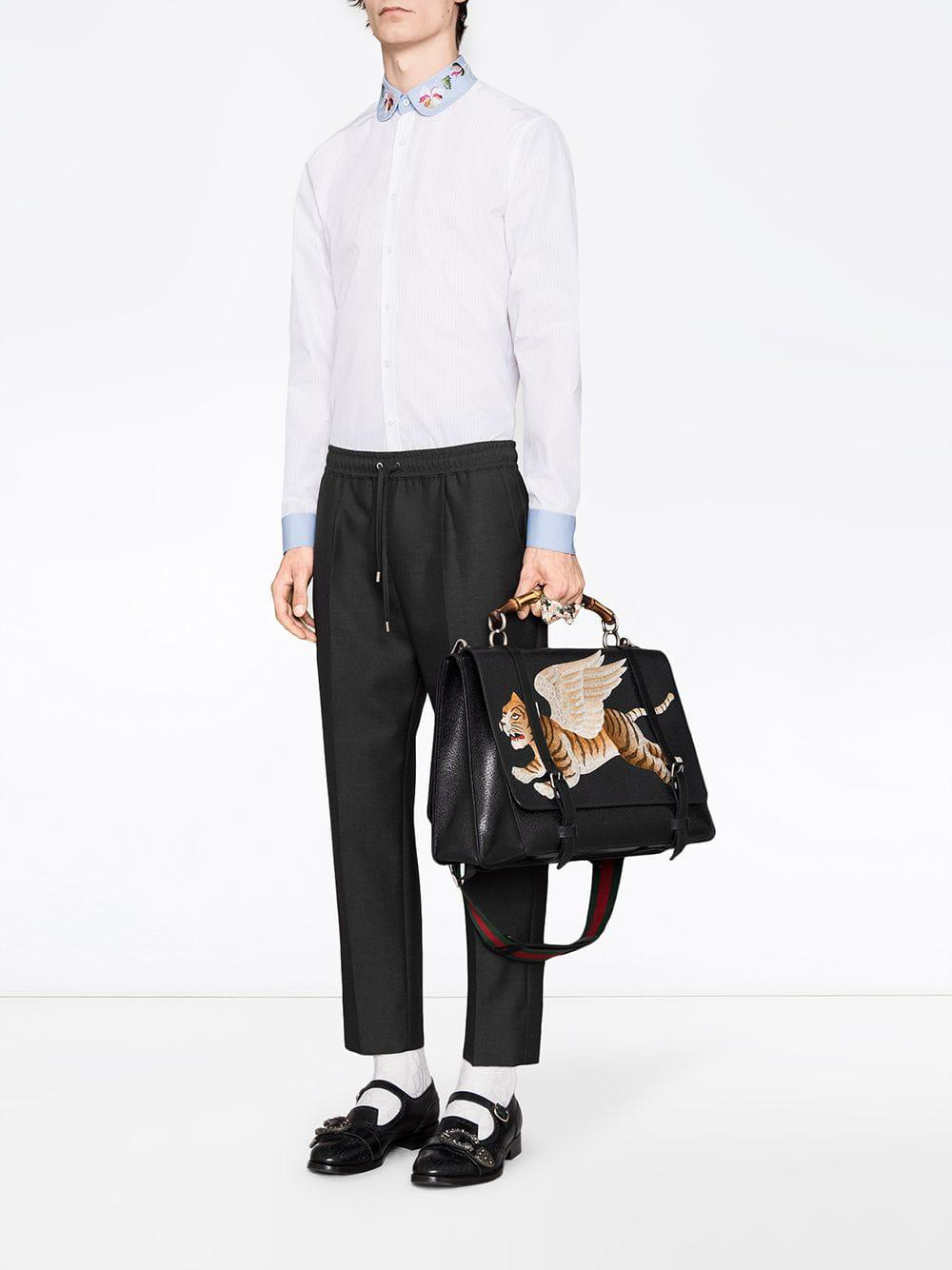 ba3ca37f2 Lyst - Gucci Poplin Shirt With Embroidered Collar in White for Men