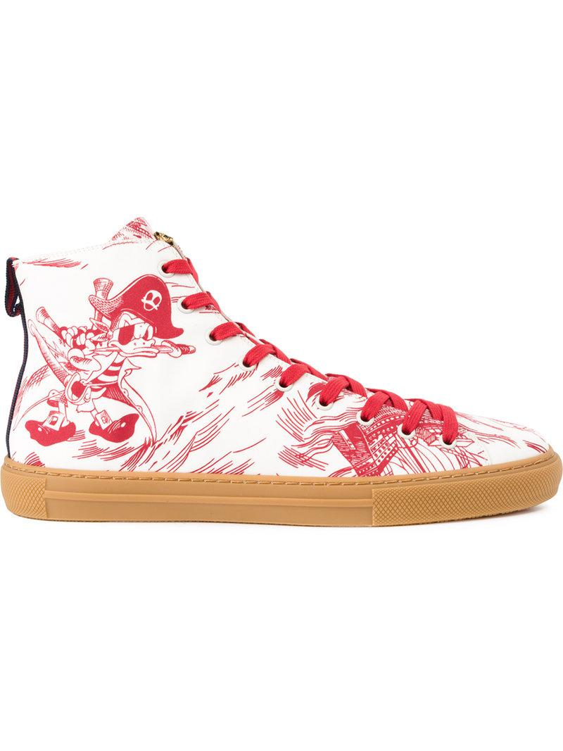 8e2ae40b397b Gucci Sea Storm Print High-top Sneaker in Red for Men - Save 7% - Lyst