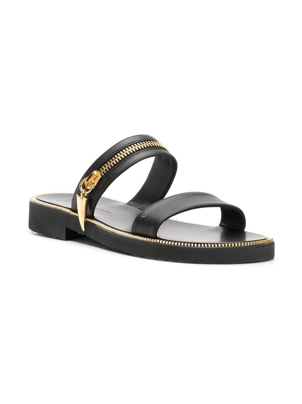 bc51d555729e Lyst - Giuseppe Zanotti Zip Detail Slip-on Sandals in Black for Men