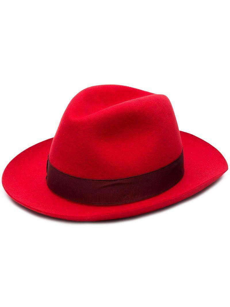 Borsalino Medium-brimmed Folar Hat in Red - Lyst bfc8db245b11