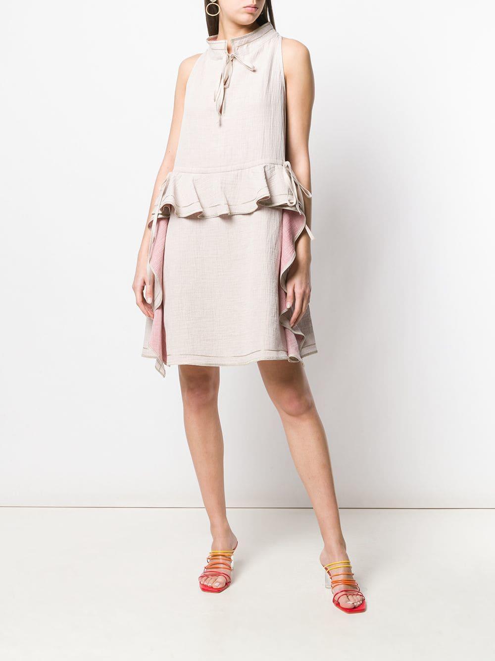 fd57f0da8f9 Lyst - See By Chloé Ruffle Detail Midi Dress in Natural