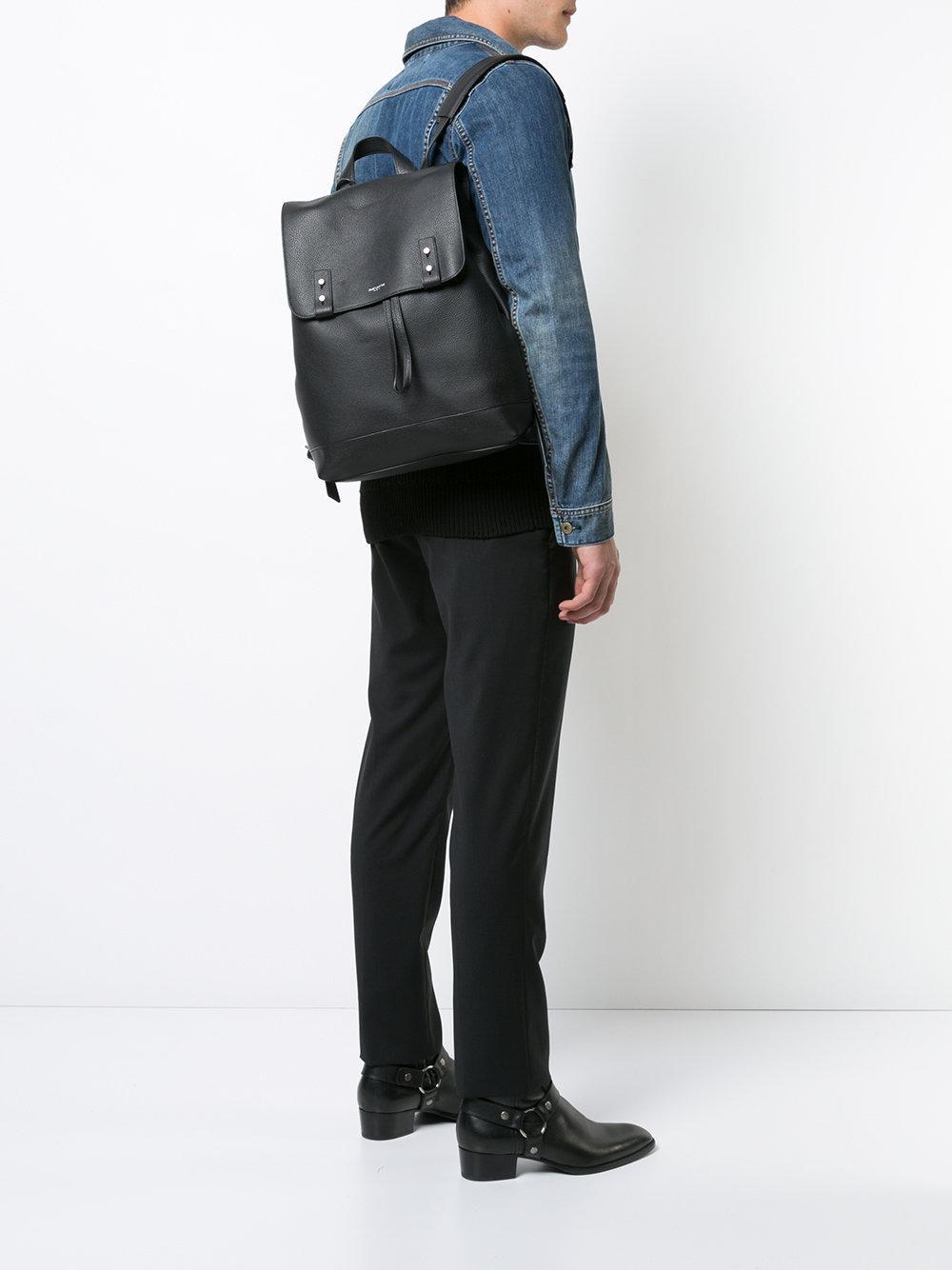 b509451fd0f Lyst - Sac de jour sac à dos en cuir grainé Saint Laurent pour homme ...