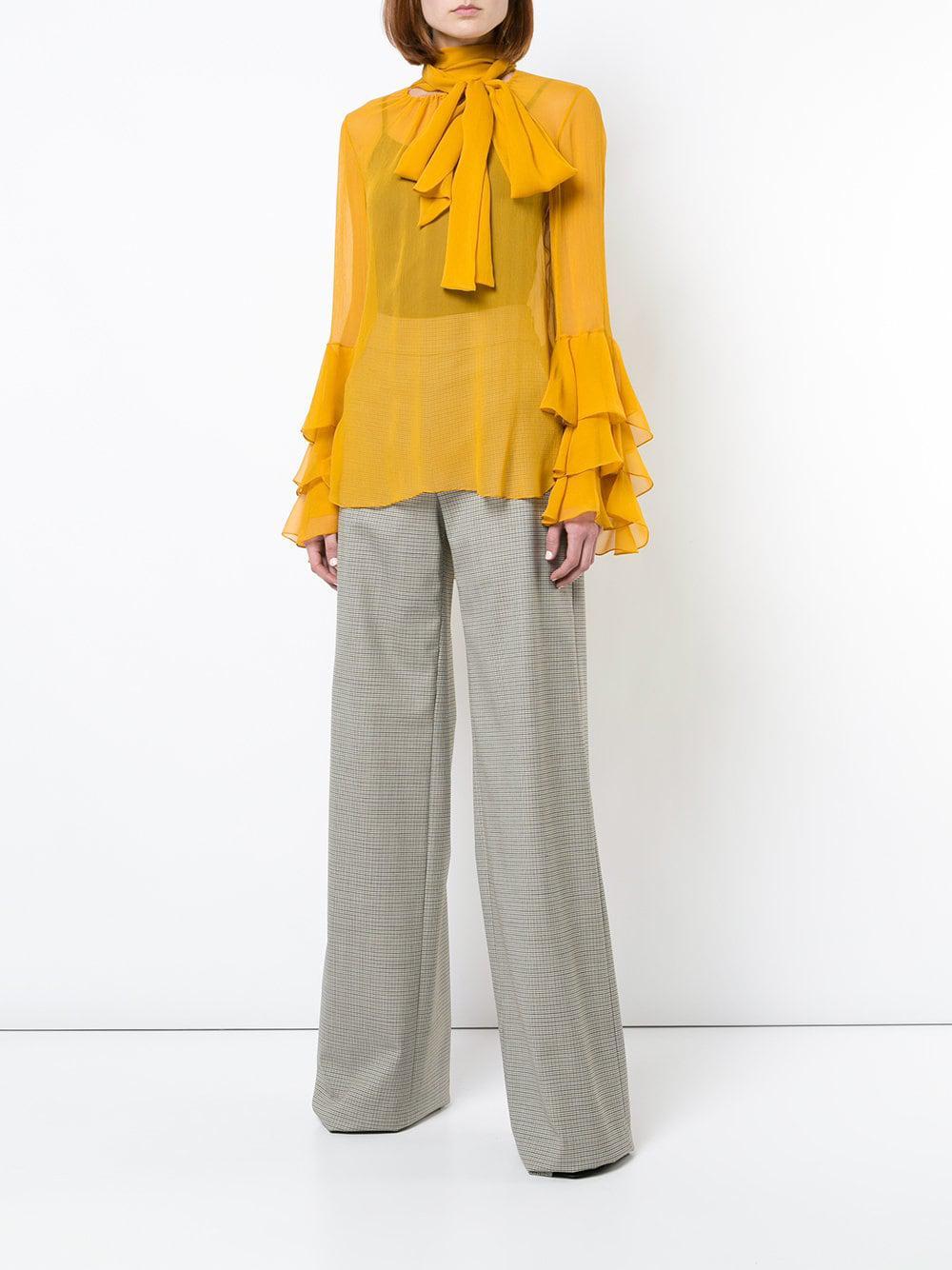 7c832aff97b30b Lyst - Prabal Gurung Ruffle Cuff Bow Tie Blouse in Yellow - Save 40%