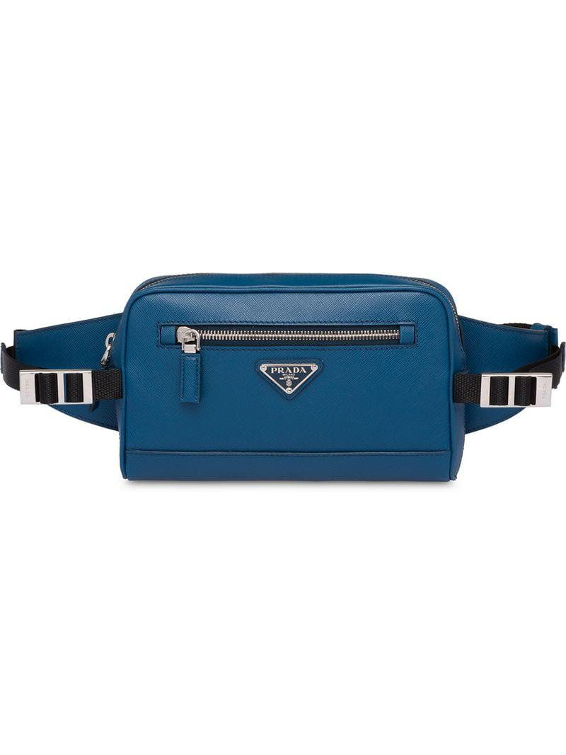f893e7f235f5ec Prada Saffiano Leather Belt Bag in Blue for Men - Lyst