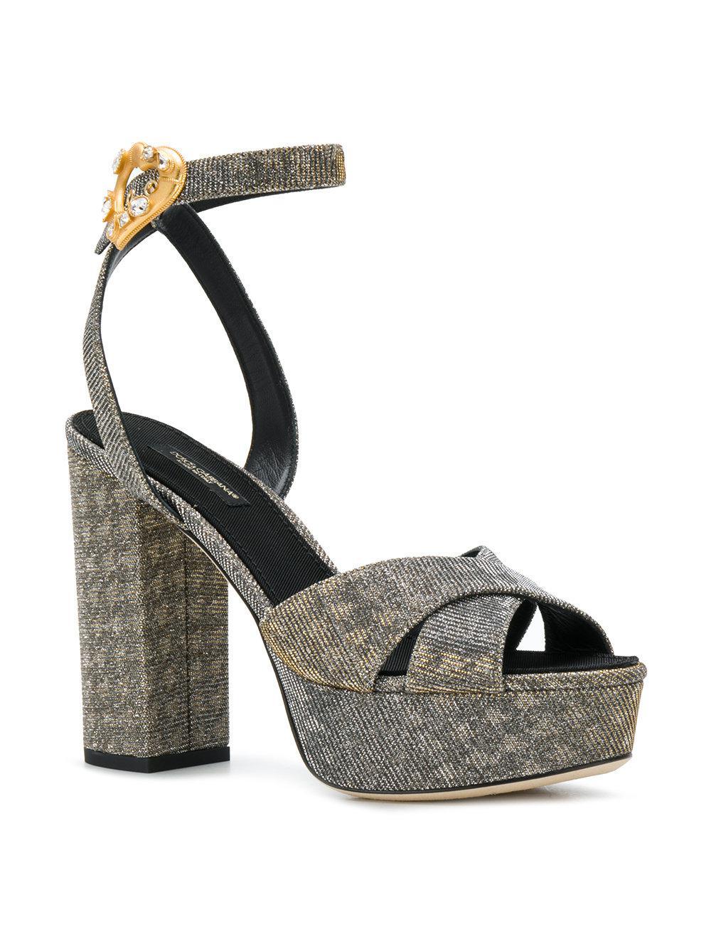 ccd1dcc0080f Lyst - Dolce   Gabbana Platform Ankle Strap Sandals in Metallic - Save 52%