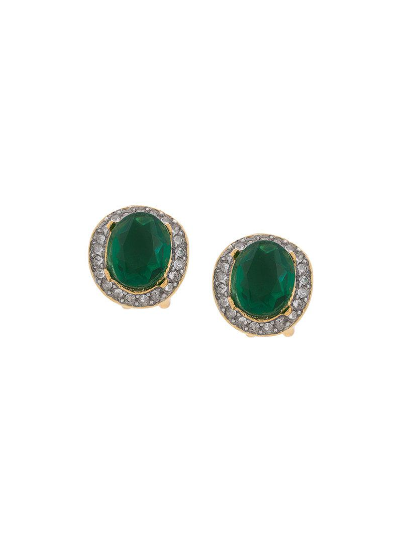 Kenneth Jay Lane Women S Green Embellished Stud Earrings