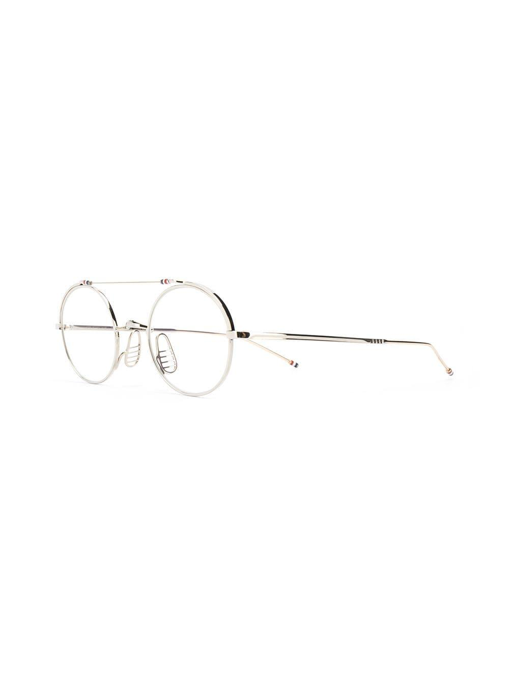 3c8ab72332 Lyst - Thom Browne Round Frame Glasses in Metallic for Men