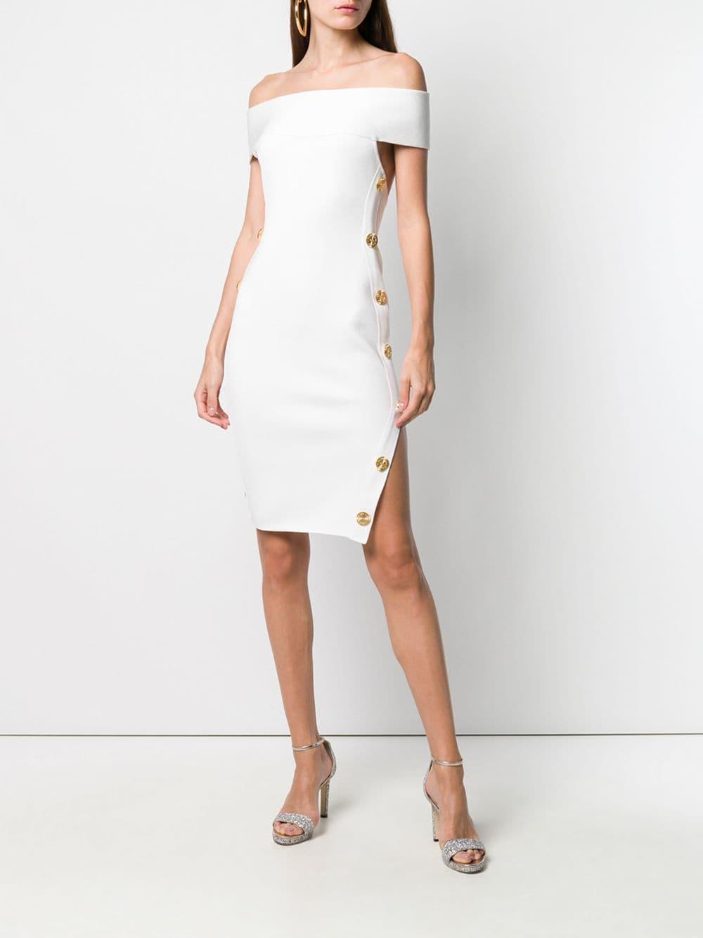 ebb4eaa4f2d0 Alexandre Vauthier Bardot Side Button Cutout Dress in White - Lyst