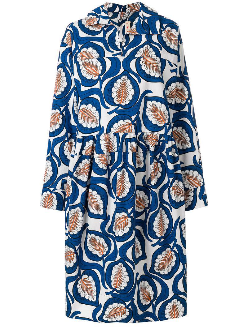 Nicekicks Marni leaf print shirt dress Enjoy Shopping With Credit Card Online Big Sale Sale Online GXQuObi