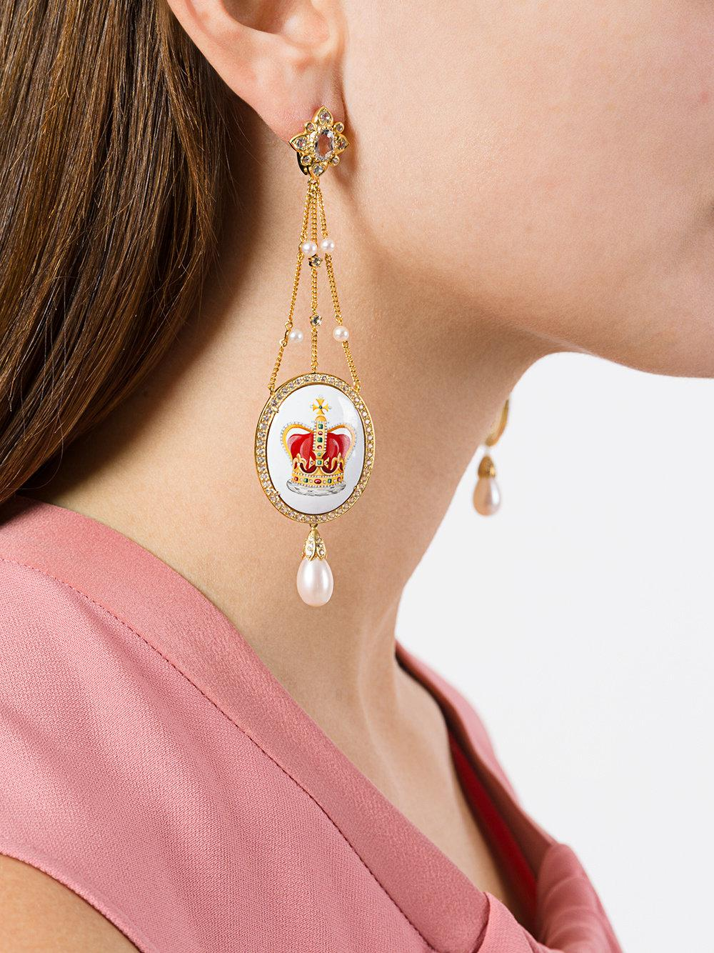 Axenoff Jewellery crown & sovereigns orb drop earrings - Metallic 6WTcQg