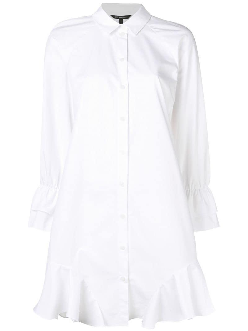 68f2edaa83f Lyst - Armani Exchange Flared Shirt Dress in White