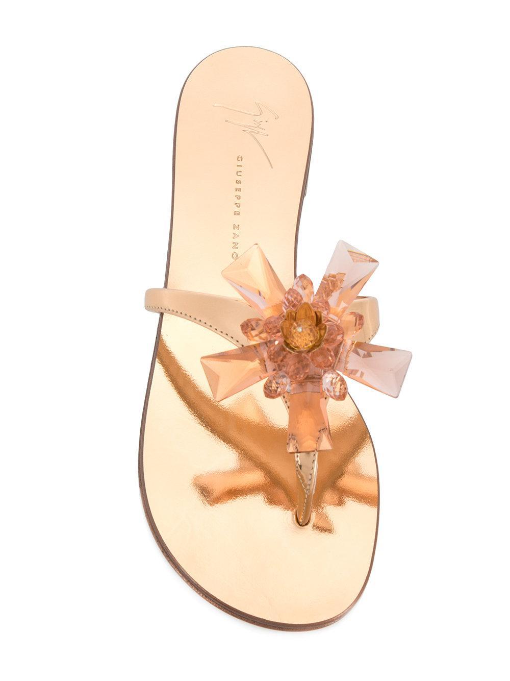 906581d85431 Lyst - Giuseppe Zanotti Letizia Flip Flops in Metallic
