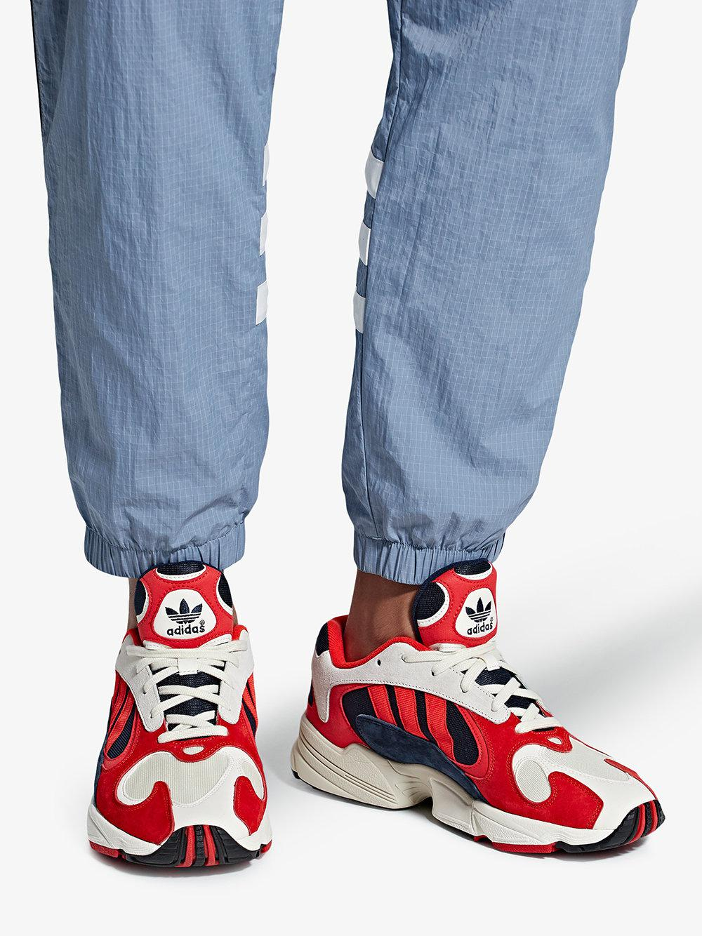 red, white and black yung 1 suede leather and cotton sneakers adidas