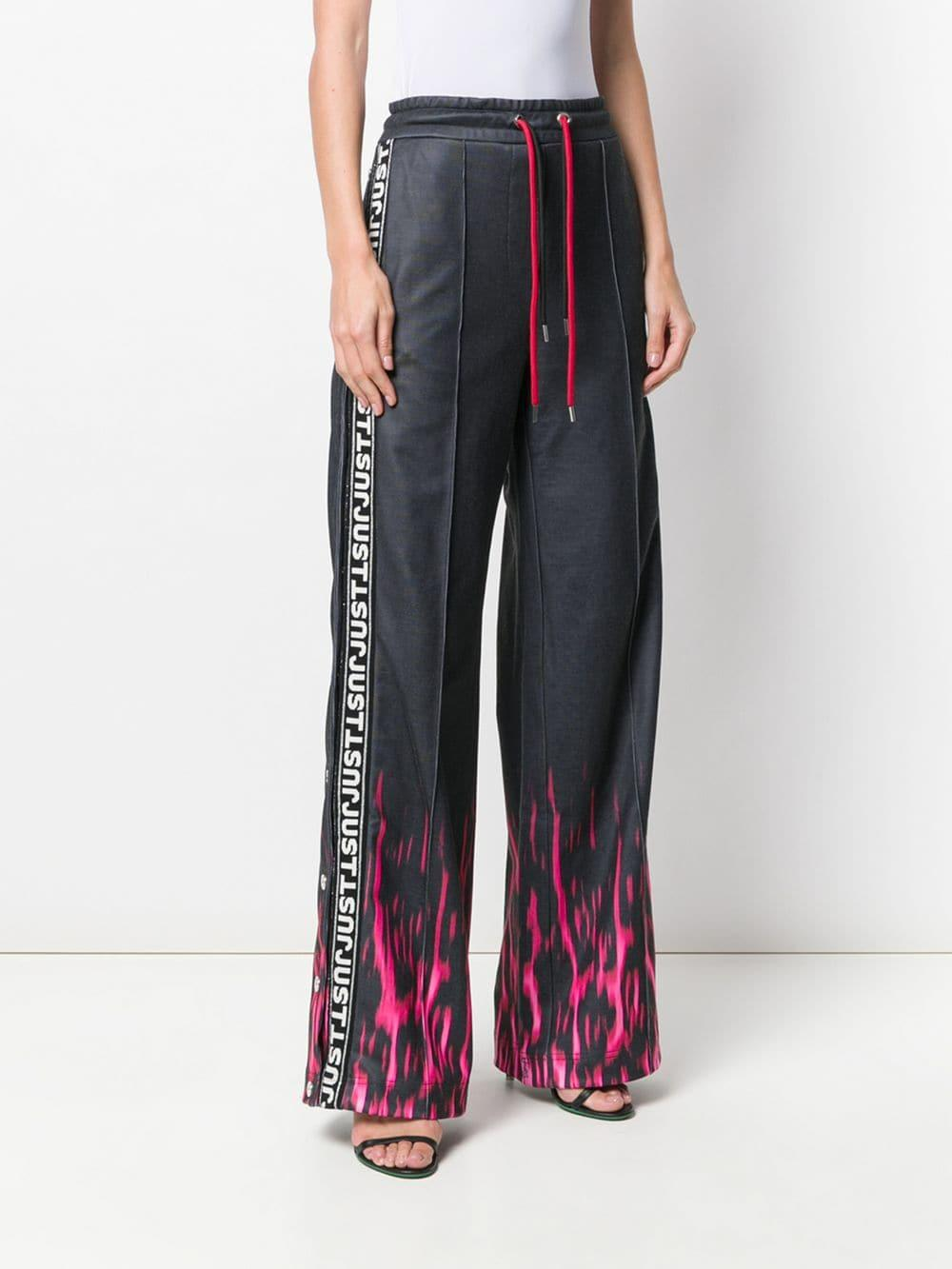 16e1b9cb Just Cavalli - Black Fire Print Track Trousers - Lyst. View fullscreen