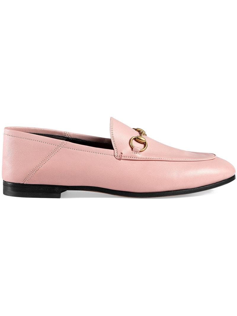 95338373a7f Lyst - Gucci Pink Brixton Leather Loafers in Pink