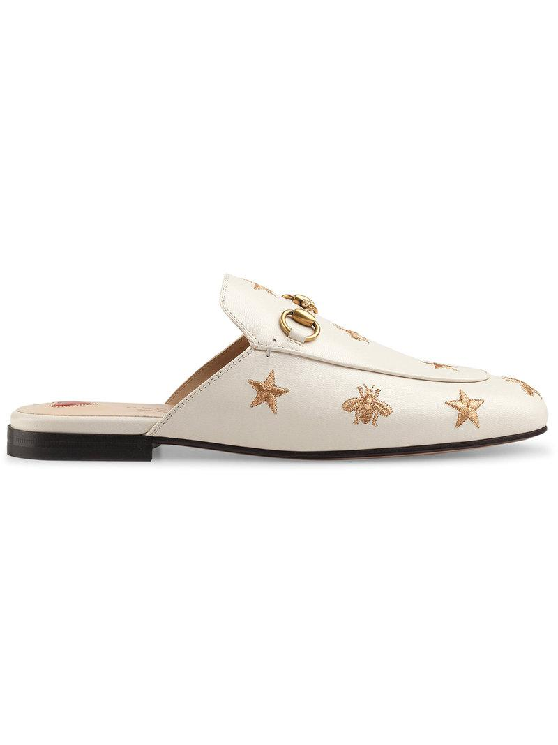 08fe2477722 Gucci. Women s White Princetown Horsebit-detailed Embroidered Leather  Slippers