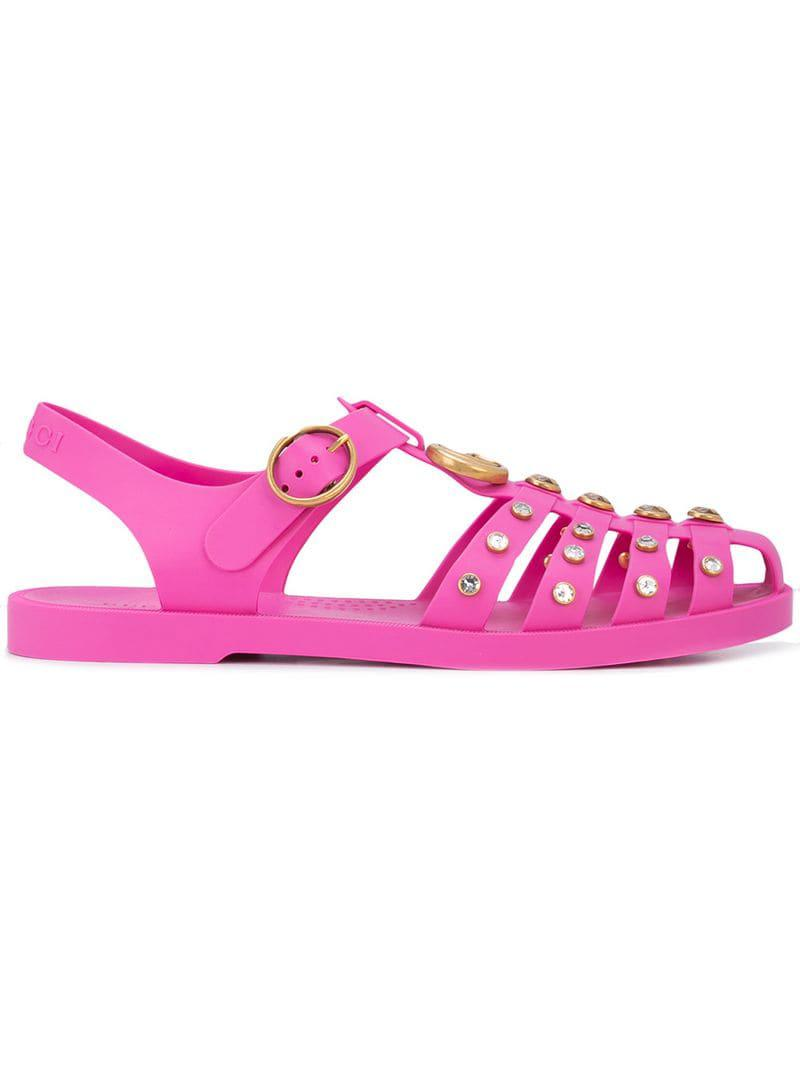 536e7c4a320025 Gucci - Pink Crystal Embellished Sandals - Lyst. View fullscreen