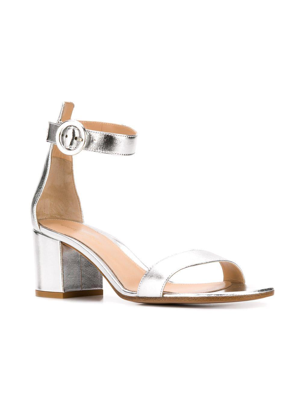05e2d612deca Lyst - Gianvito Rossi Versilla 50 Silver Leather Sandals in Metallic