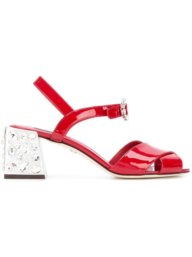 7ff2c5b76 Dolce   Gabbana - Red Keira Gemstone Embellished Sandals - Lyst. View  fullscreen