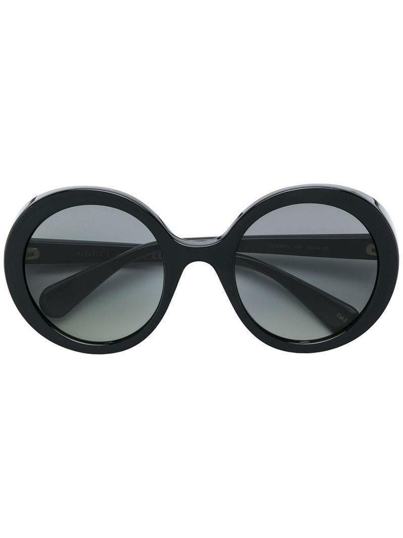5099c6166e3 Gucci Round Tinted Sunglasses in Black - Lyst