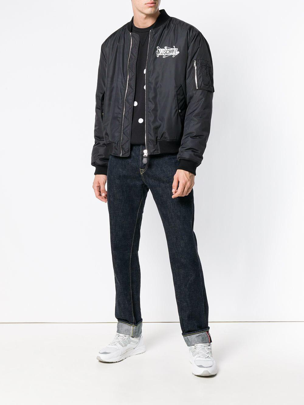 be7f9cf60 Men's Black Logo Zipped Bomber Jacket
