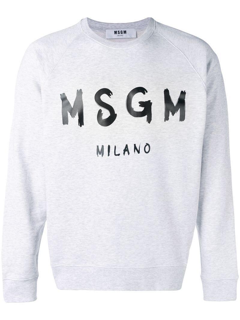 Print In For Sweatshirt Men Lyst Logo Msgm Gray 6cn4IWEW