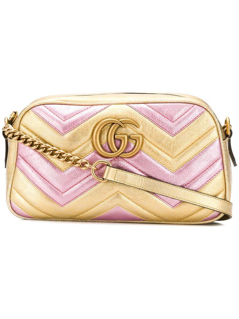 a843168e3014 Lyst - Gucci Laminated GG Marmont Bag in Metallic