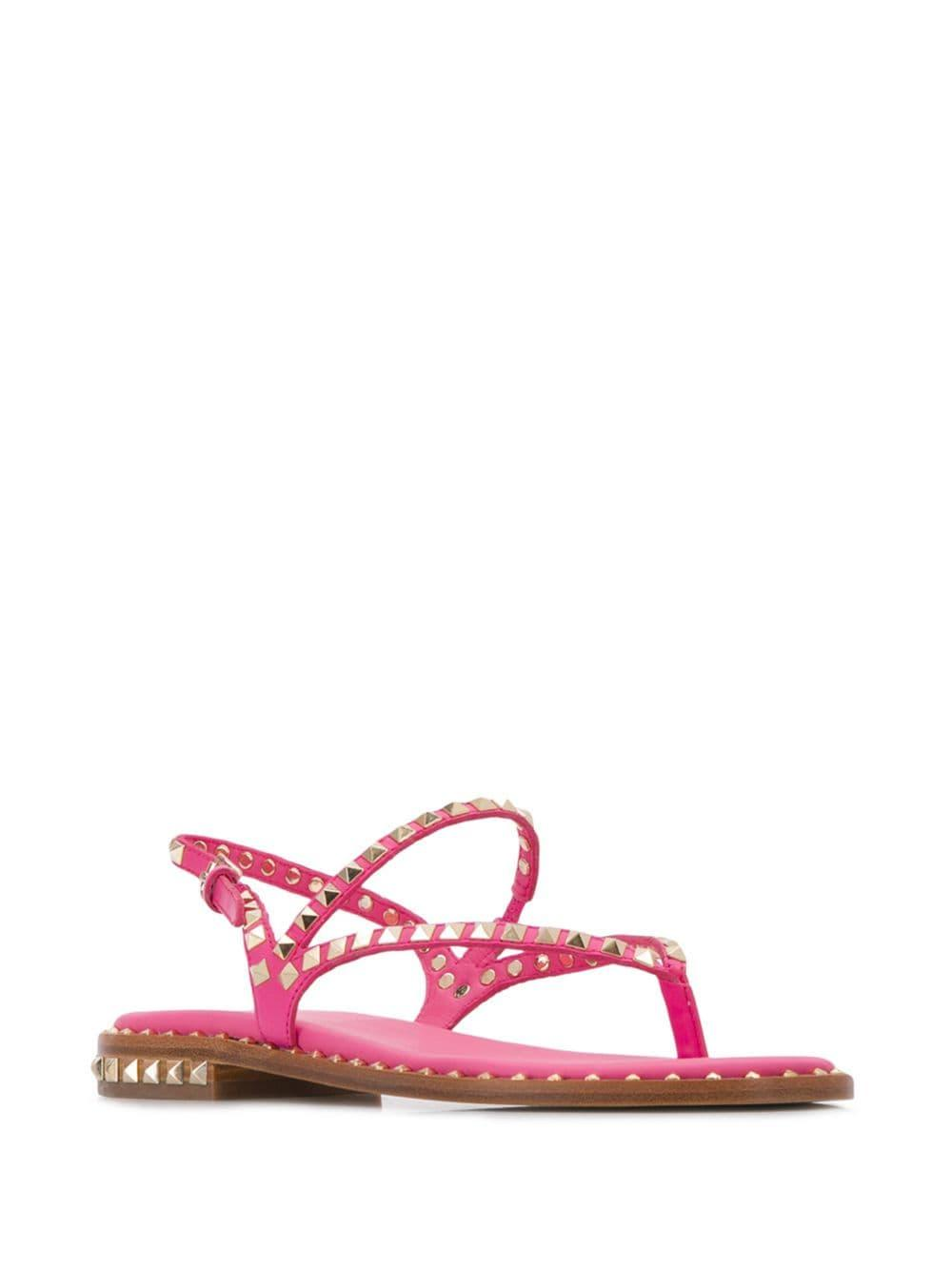 7fed0937f021 Lyst - Ash Peps Studded Strappy Sandals in Pink