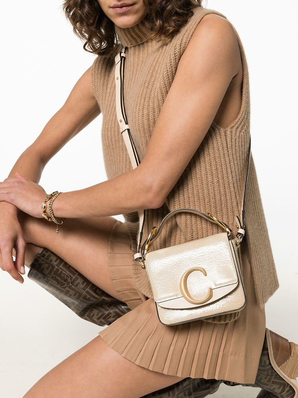 76396572e32 Chloé Beige C Ring Small Leather Shoulder Bag in White - Lyst